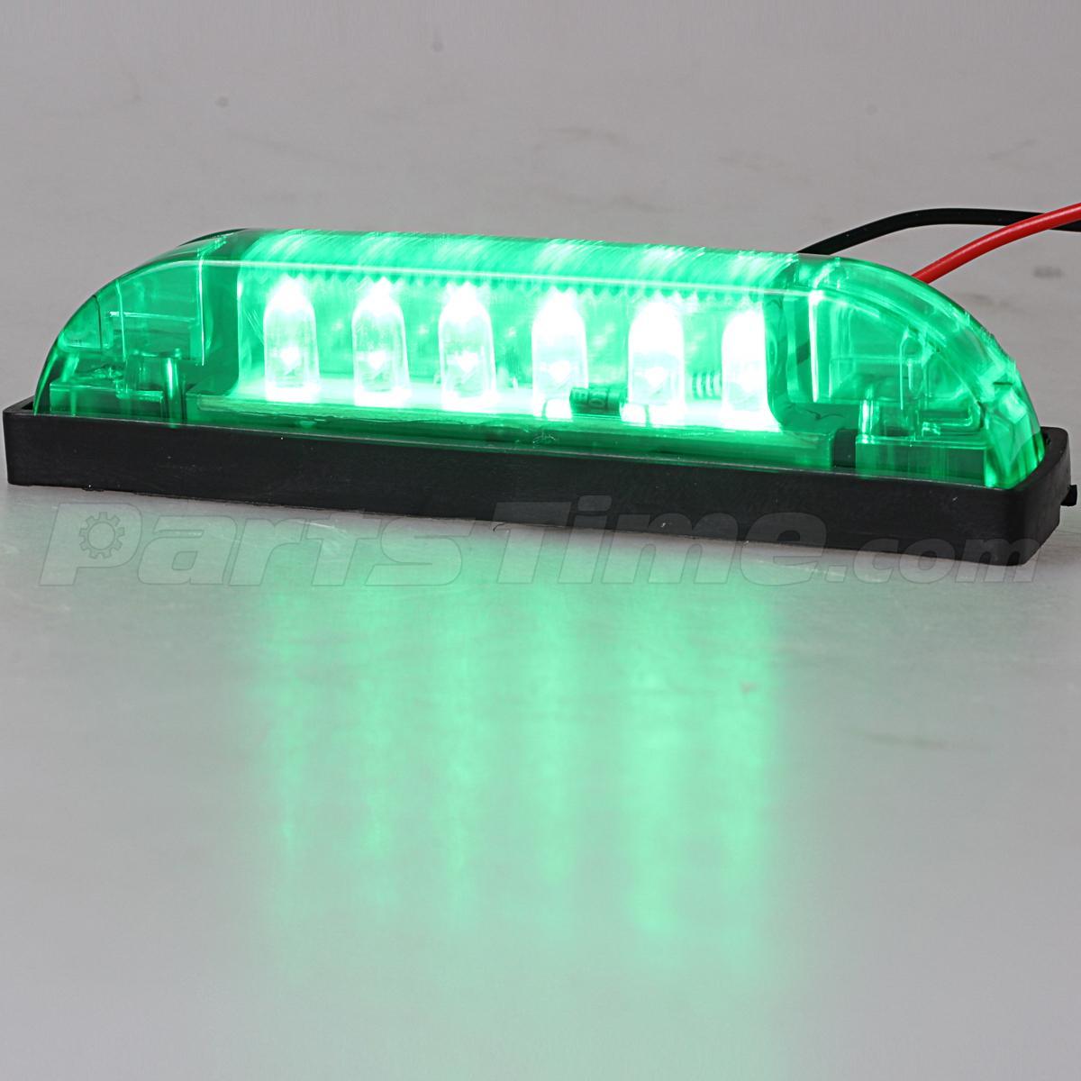 "Green Led Strip Light: 4"" Green Waterproof LED Light Bar 6 LEDs Utility Strip"