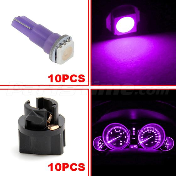 60x T5 74 Led Dashboard Speedometer Gauge Indicator Light: 10pcs Purple T5 74 73 LED Bulbs For Instrument Panel Gauge